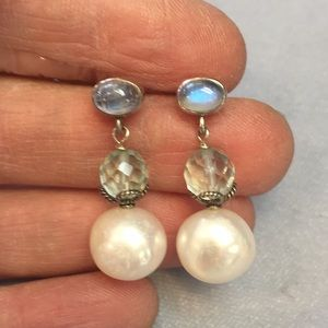Sterling Pearl moonstone & crystal earrings